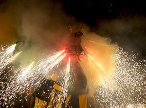 Dragons or other mythical creatures are often part of Correfoc